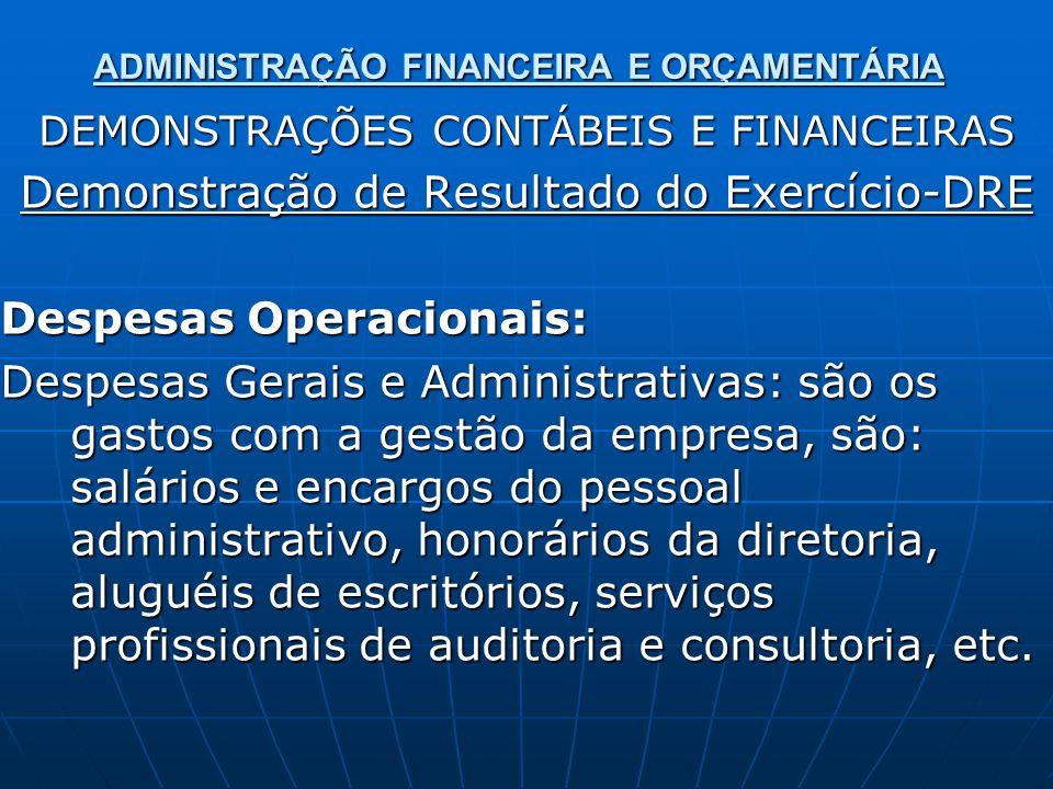 ADMINISTRAÇÃO FINANCEIRA E ORÇAMENTÁRIA DEMONSTRAÇÕES CONTÁBEIS E FINANCEIRAS Demonstração de Resultado do Exercício-DRE Despesas Operacionais: Despes