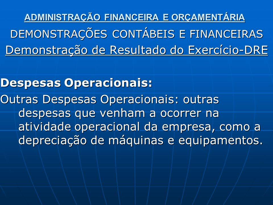 ADMINISTRAÇÃO FINANCEIRA E ORÇAMENTÁRIA DEMONSTRAÇÕES CONTÁBEIS E FINANCEIRAS Demonstração de Resultado do Exercício-DRE Despesas Operacionais: Outras