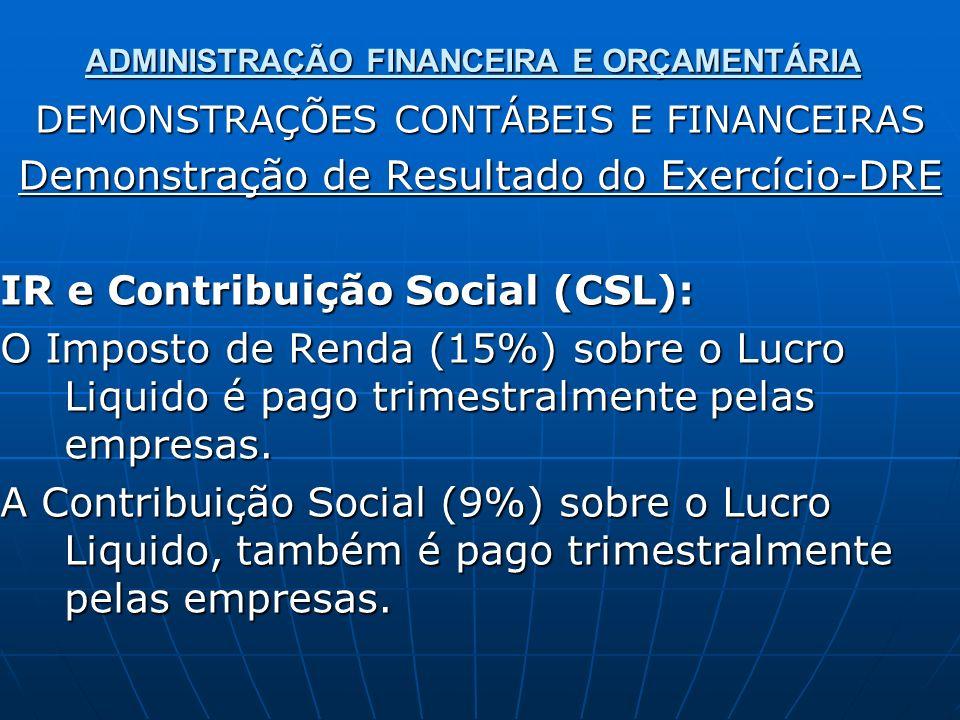 ADMINISTRAÇÃO FINANCEIRA E ORÇAMENTÁRIA DEMONSTRAÇÕES CONTÁBEIS E FINANCEIRAS Demonstração de Resultado do Exercício-DRE IR e Contribuição Social (CSL