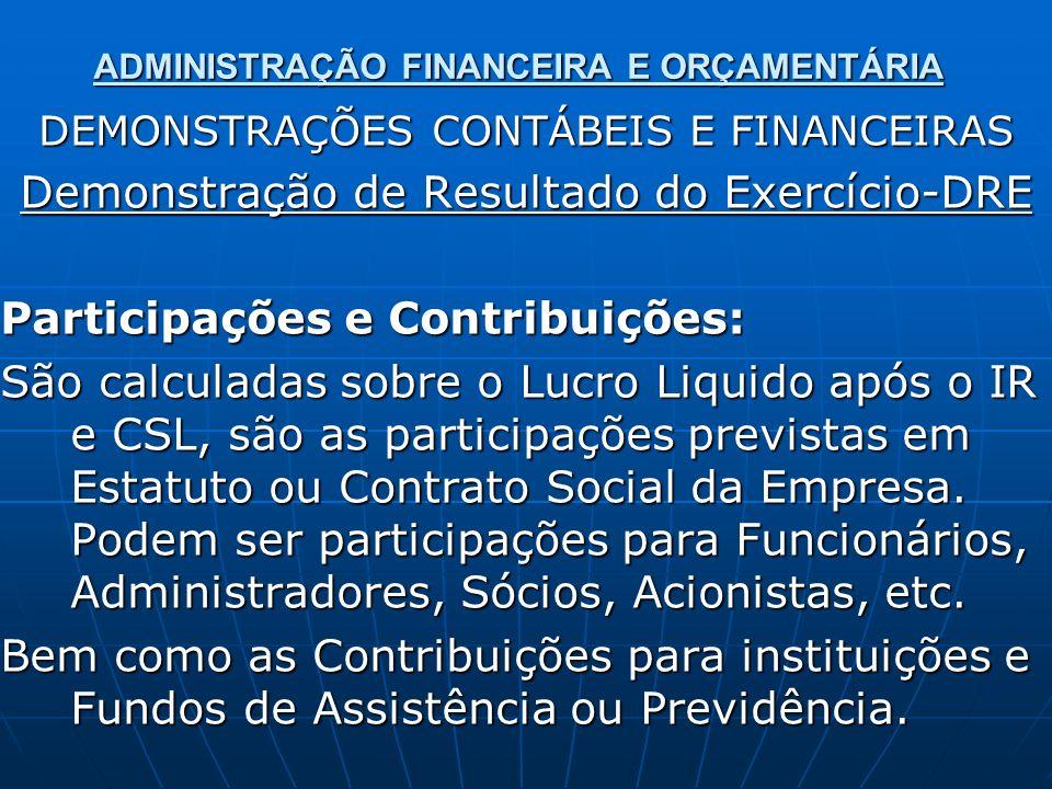 ADMINISTRAÇÃO FINANCEIRA E ORÇAMENTÁRIA DEMONSTRAÇÕES CONTÁBEIS E FINANCEIRAS Demonstração de Resultado do Exercício-DRE Participações e Contribuições