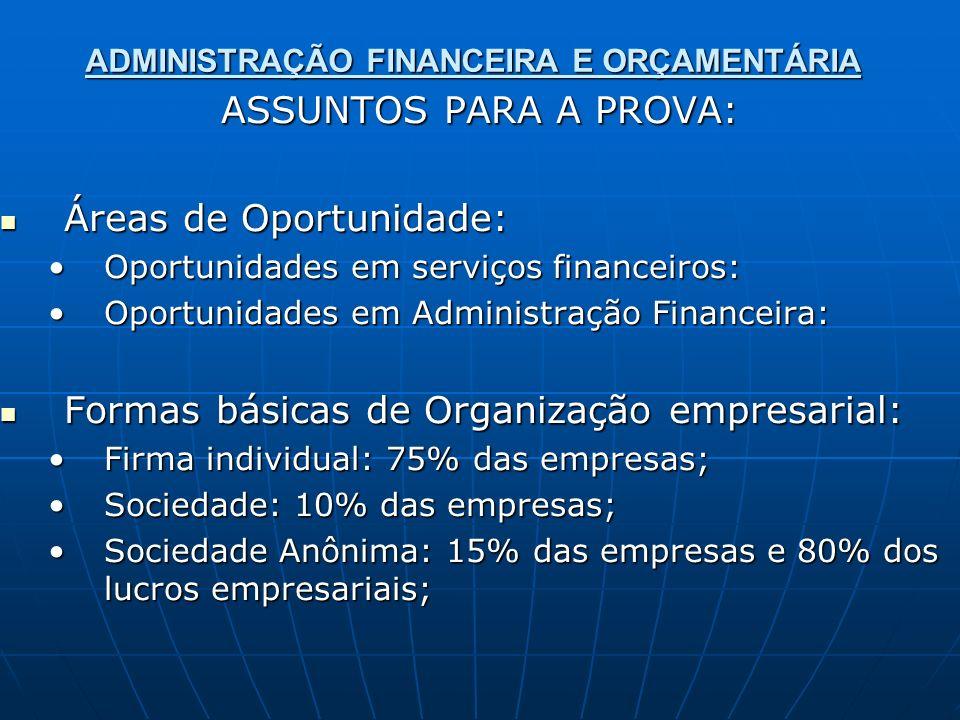 ADMINISTRAÇÃO FINANCEIRA E ORÇAMENTÁRIA ASSUNTOS PARA A PROVA: Áreas de Oportunidade: Áreas de Oportunidade: Oportunidades em serviços financeiros:Opo
