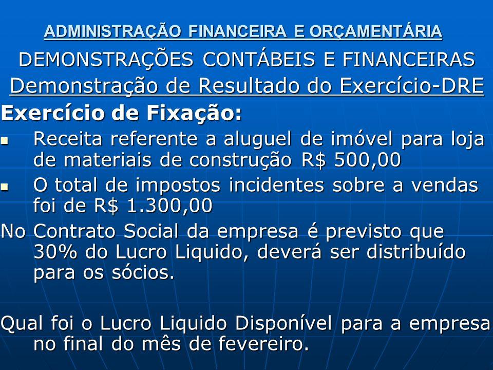 ADMINISTRAÇÃO FINANCEIRA E ORÇAMENTÁRIA DEMONSTRAÇÕES CONTÁBEIS E FINANCEIRAS Demonstração de Resultado do Exercício-DRE Exercício de Fixação: Receita