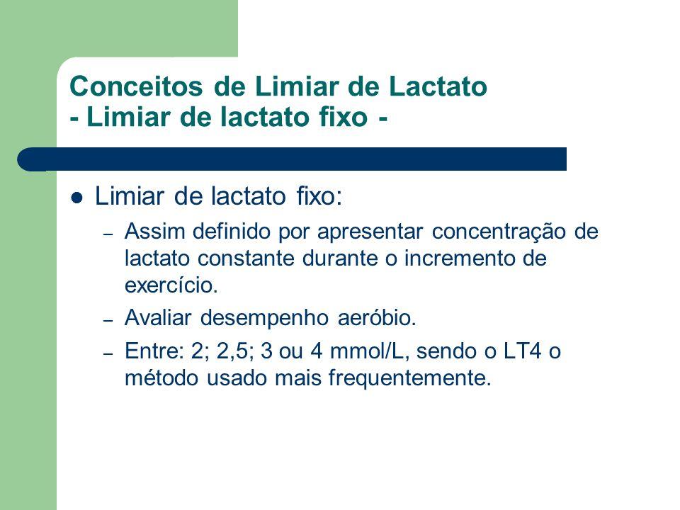Conceitos de Limiar de Lactato - Limiar de lactato fixo - Limiar de lactato fixo: – Assim definido por apresentar concentração de lactato constante du