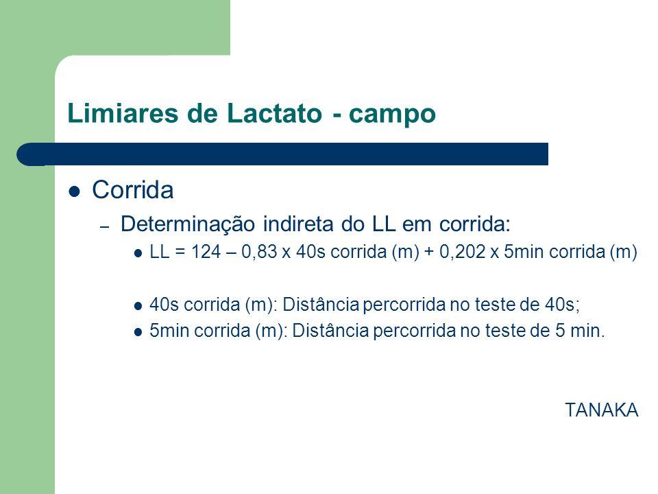 Limiares de Lactato - campo Corrida – Determinação indireta do LL em corrida: LL = 124 – 0,83 x 40s corrida (m) + 0,202 x 5min corrida (m) 40s corrida