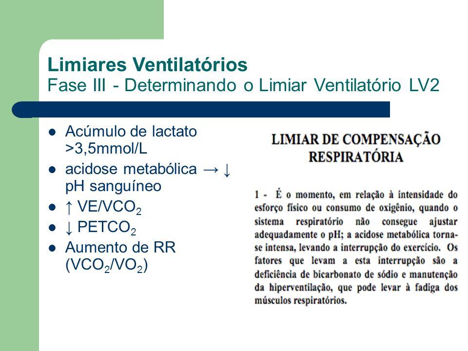 Acúmulo de lactato >3,5mmol/L acidose metabólica pH sanguíneo VE/VCO 2 PETCO 2 Aumento de RR (VCO 2 /VO 2 ) Limiares Ventilatórios Fase III - Determin