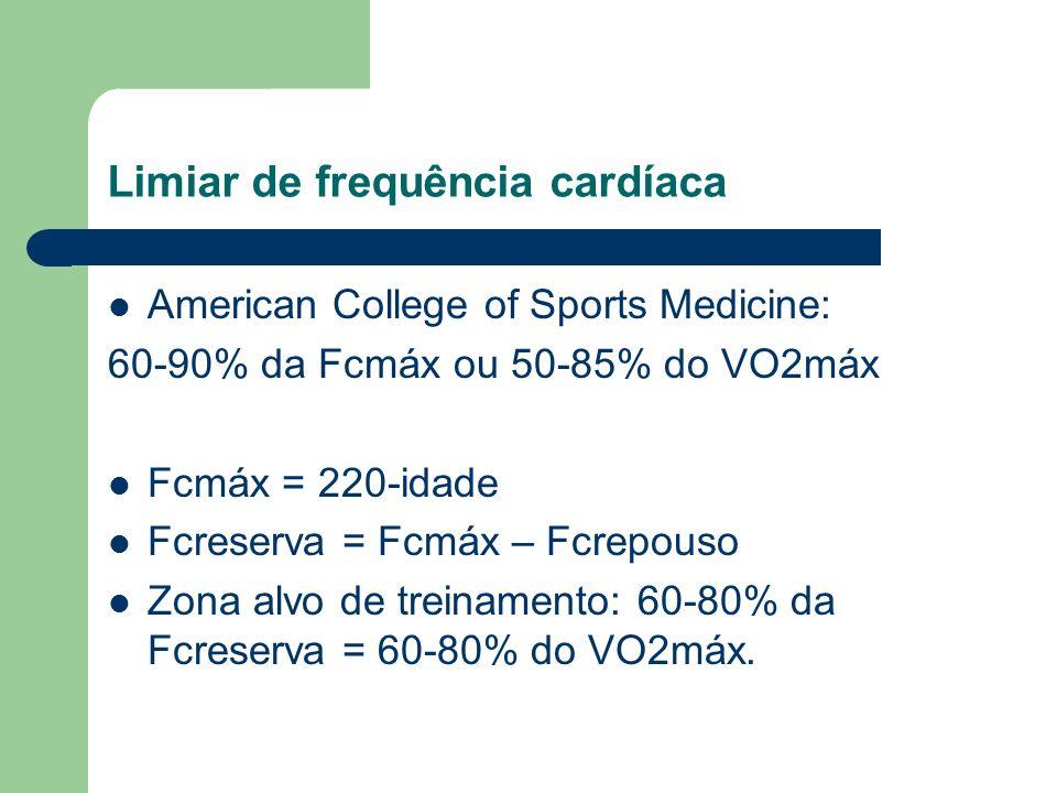 Limiar de frequência cardíaca American College of Sports Medicine: 60-90% da Fcmáx ou 50-85% do VO2máx Fcmáx = 220-idade Fcreserva = Fcmáx – Fcrepouso