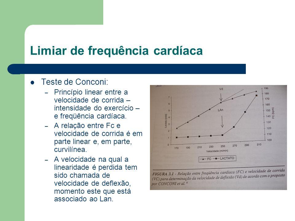 Teste de Conconi: – Princípio linear entre a velocidade de corrida – intensidade do exercício – e freqüência cardíaca. – A relação entre Fc e velocida