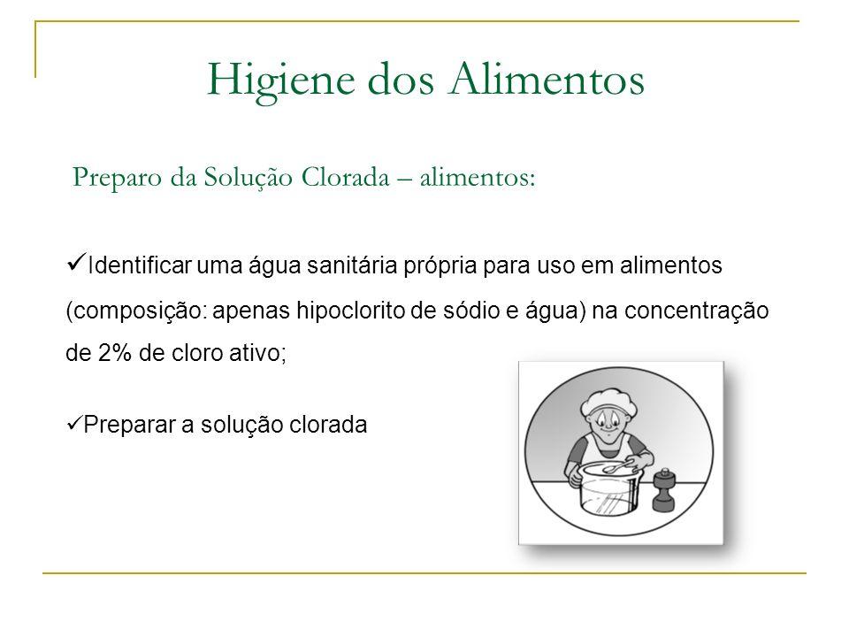 Produtos de Higiene: ProdutoFinalidade Sanitizante - Hipoclorito de sódio Sanitizante de vegetais e frutas / ambiente, equipamentos, móveis e utensíli