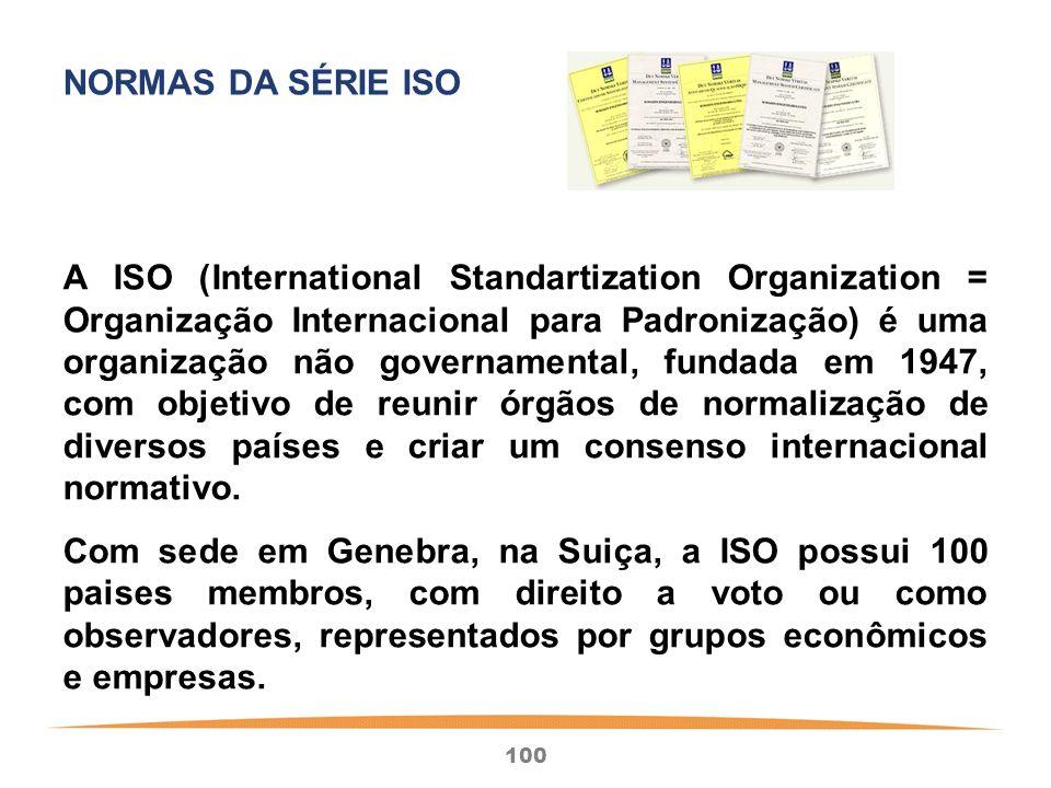 100 A ISO (International Standartization Organization = Organização Internacional para Padronização) é uma organização não governamental, fundada em 1947, com objetivo de reunir órgãos de normalização de diversos países e criar um consenso internacional normativo.