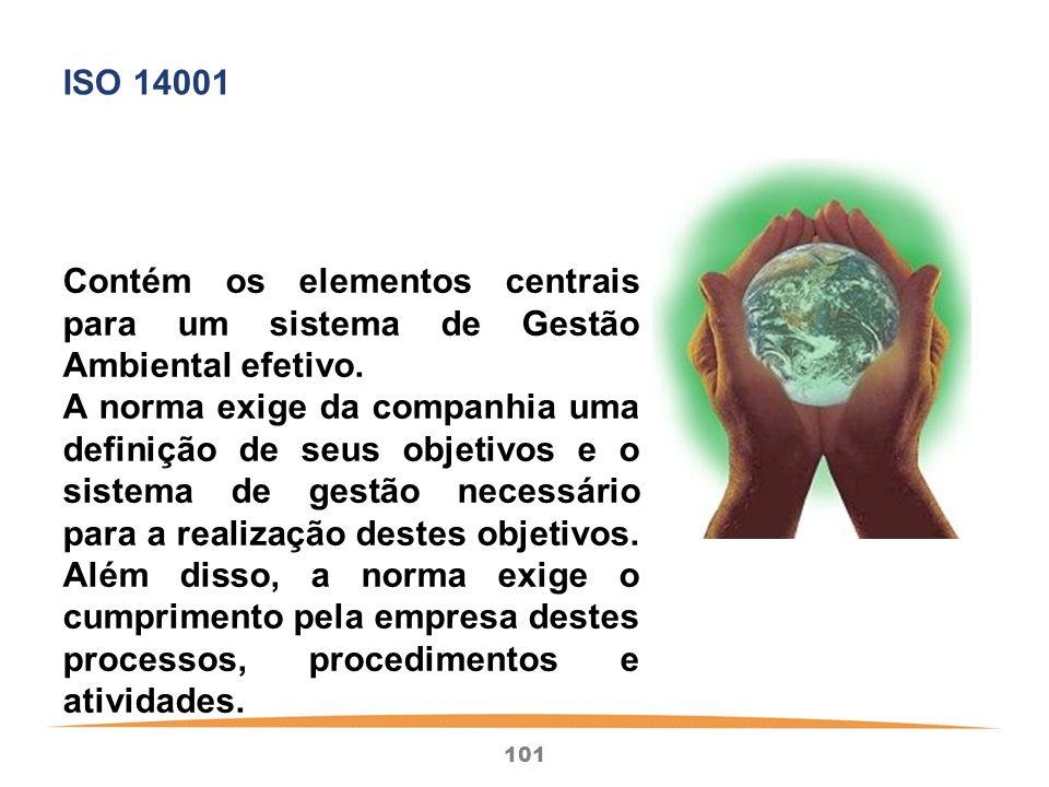 101 Contém os elementos centrais para um sistema de Gestão Ambiental efetivo.