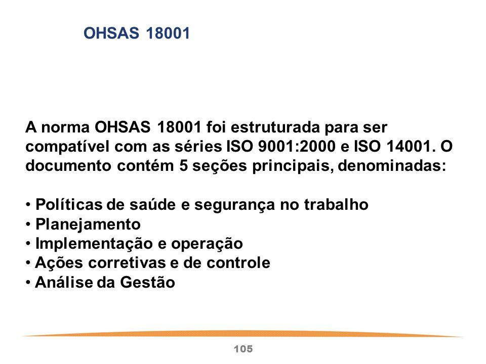 105 A norma OHSAS 18001 foi estruturada para ser compatível com as séries ISO 9001:2000 e ISO 14001.