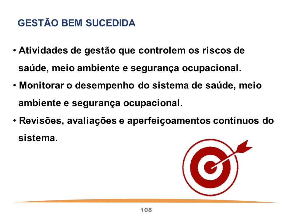 108 Atividades de gestão que controlem os riscos de saúde, meio ambiente e segurança ocupacional.