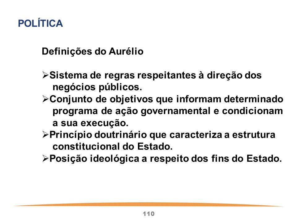 110 Definições do Aurélio Sistema de regras respeitantes à direção dos negócios públicos.