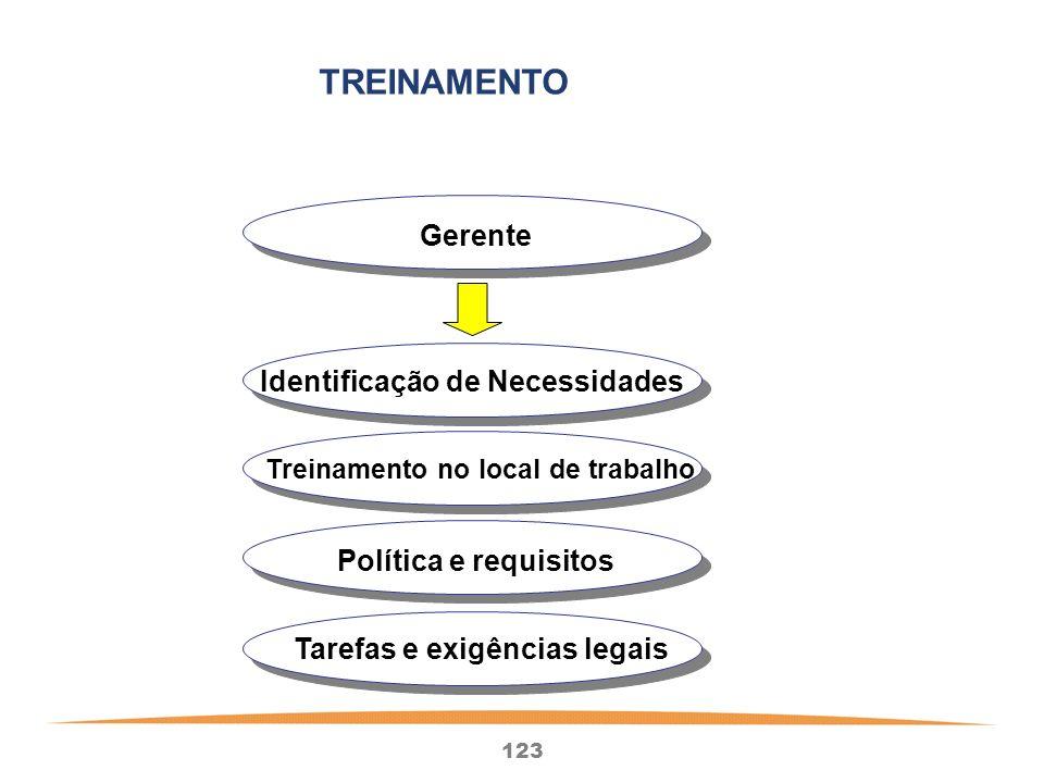 123 Gerente Identificação de Necessidades Treinamento no local de trabalho Política e requisitos Tarefas e exigências legais TREINAMENTO