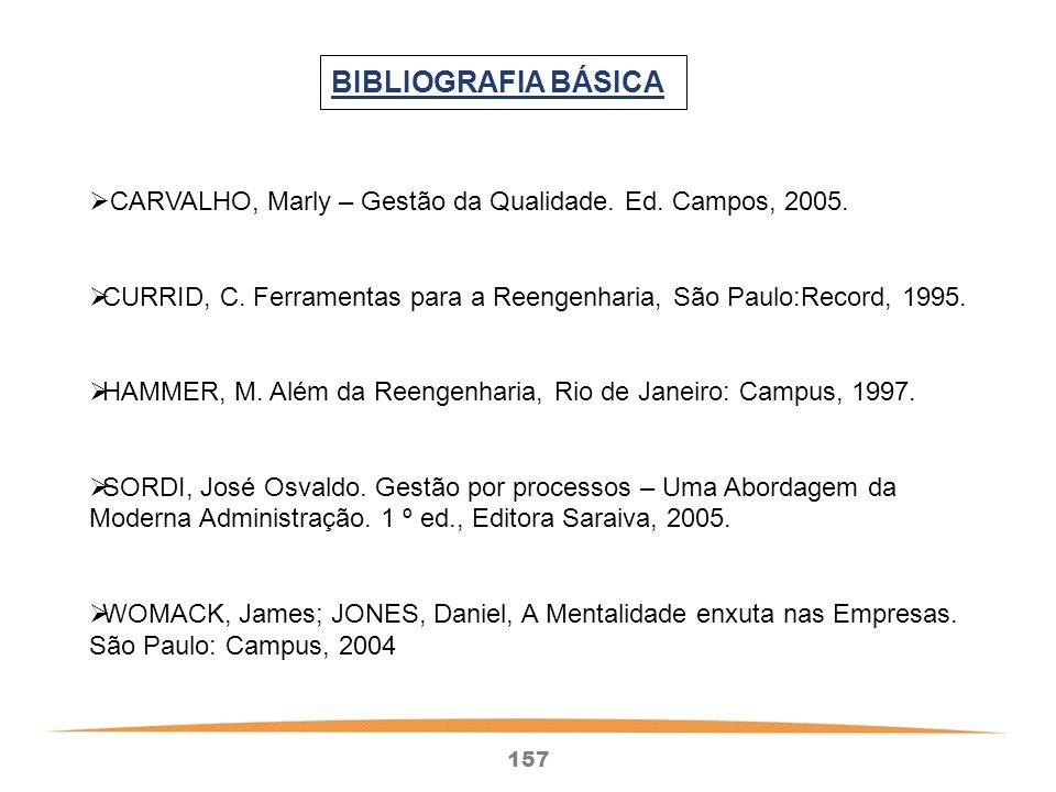 157 BIBLIOGRAFIA BÁSICA CARVALHO, Marly – Gestão da Qualidade.