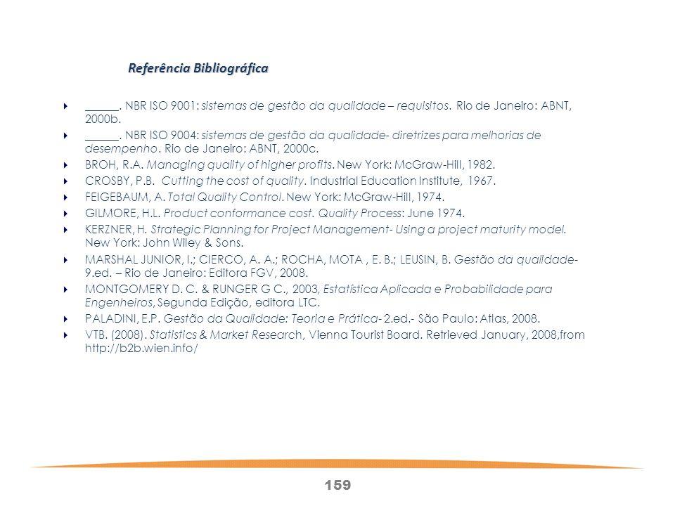 159 Referência Bibliográfica ______.NBR ISO 9001: sistemas de gestão da qualidade – requisitos.