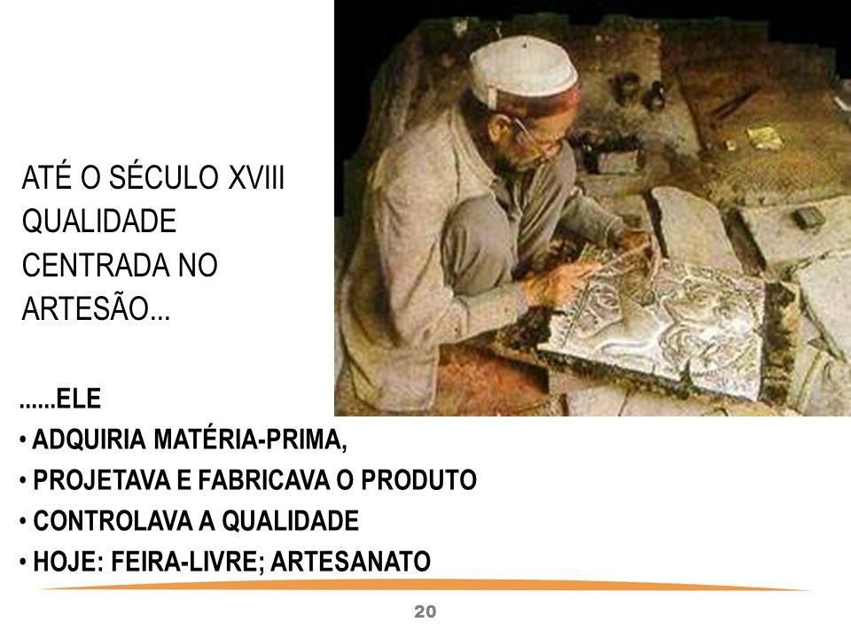 20 ATÉ O SÉCULO XVIII QUALIDADE CENTRADA NO ARTESÃO.........ELE ADQUIRIA MATÉRIA-PRIMA, PROJETAVA E FABRICAVA O PRODUTO CONTROLAVA A QUALIDADE HOJE: FEIRA-LIVRE; ARTESANATO