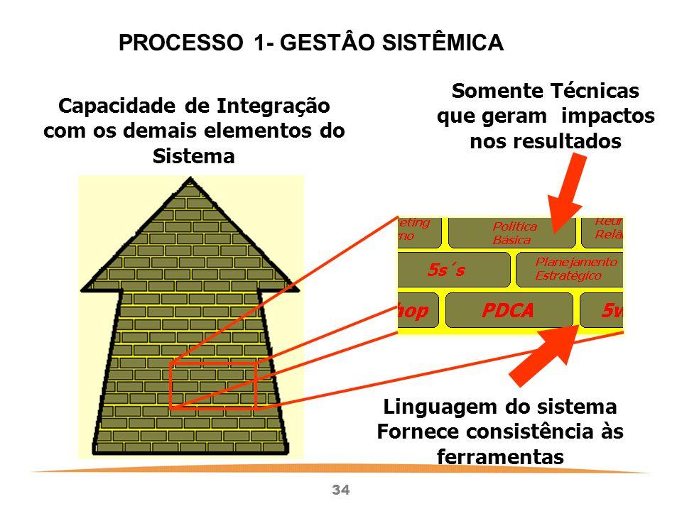34 Capacidade de Integração com os demais elementos do Sistema Somente Técnicas que geram impactos nos resultados Linguagem do sistema Fornece consistência às ferramentas PROCESSO 1- GESTÂO SISTÊMICA