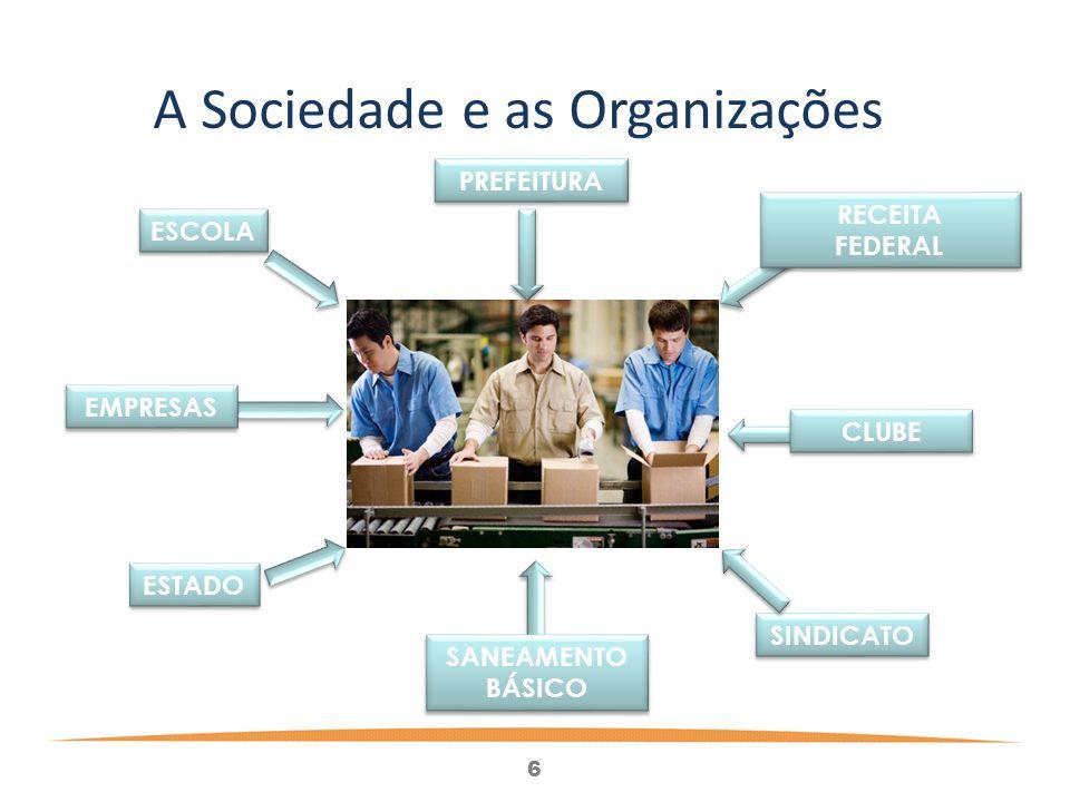 6 RECEITA FEDERAL RECEITA FEDERAL CLUBE SINDICATO SANEAMENTO BÁSICO SANEAMENTO BÁSICO ESTADO ESCOLA PREFEITURA A Sociedade e as Organizações EMPRESAS
