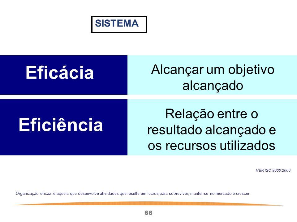 66 NBR ISO 9000:2000 Eficácia Alcançar um objetivo alcançado Eficiência Relação entre o resultado alcançado e os recursos utilizados Organização eficaz é aquela que desenvolve atividades que resulte em lucros para sobreviver, manter-se no mercado e crescer.