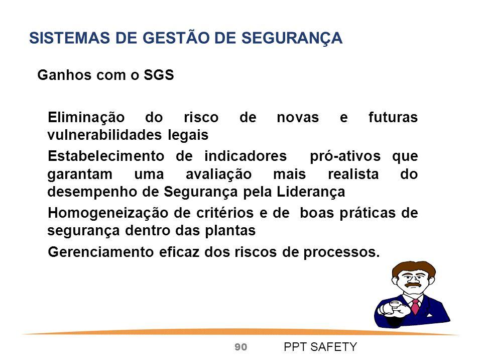 90 Ganhos com o SGS Eliminação do risco de novas e futuras vulnerabilidades legais Estabelecimento de indicadores pró-ativos que garantam uma avaliação mais realista do desempenho de Segurança pela Liderança Homogeneização de critérios e de boas práticas de segurança dentro das plantas Gerenciamento eficaz dos riscos de processos.
