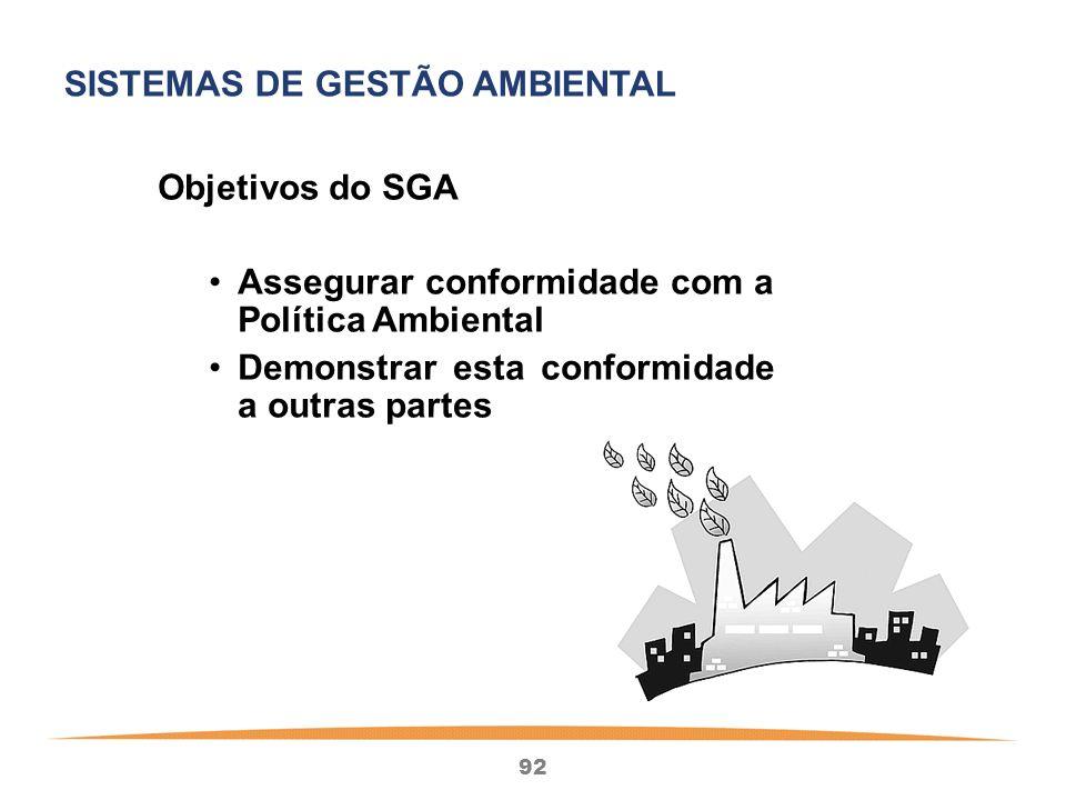 92 Objetivos do SGA Assegurar conformidade com a Política Ambiental Demonstrar esta conformidade a outras partes SISTEMAS DE GESTÃO AMBIENTAL