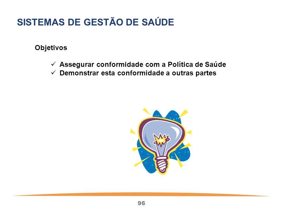 96 Objetivos Assegurar conformidade com a Política de Saúde Demonstrar esta conformidade a outras partes SISTEMAS DE GESTÃO DE SAÚDE