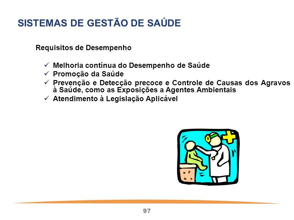97 Requisitos de Desempenho Melhoria contínua do Desempenho de Saúde Promoção da Saúde Prevenção e Detecção precoce e Controle de Causas dos Agravos à Saúde, como as Exposições a Agentes Ambientais Atendimento à Legislação Aplicável SISTEMAS DE GESTÃO DE SAÚDE