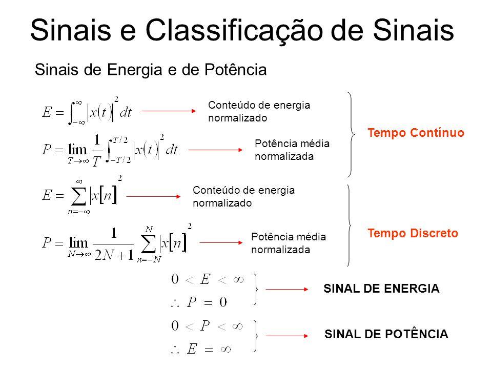 Sinais e Classificação de Sinais Sinais de Energia e de Potência Conteúdo de energia normalizado Potência média normalizada Conteúdo de energia normal