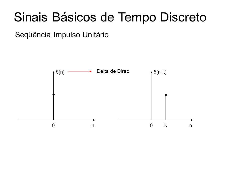 Sinais Básicos de Tempo Discreto Seqüência Impulso Unitário n δ[n] 0n δ[n-k] 0 k Delta de Dirac