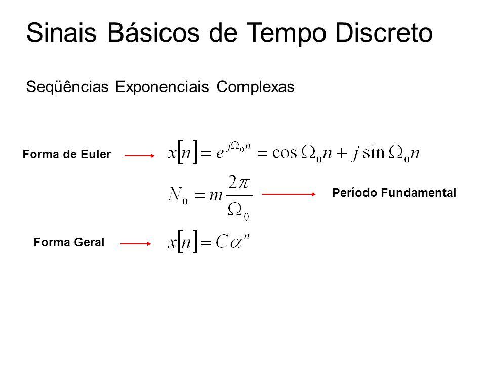 Sinais Básicos de Tempo Discreto Seqüências Exponenciais Complexas Forma Geral Forma de Euler Período Fundamental