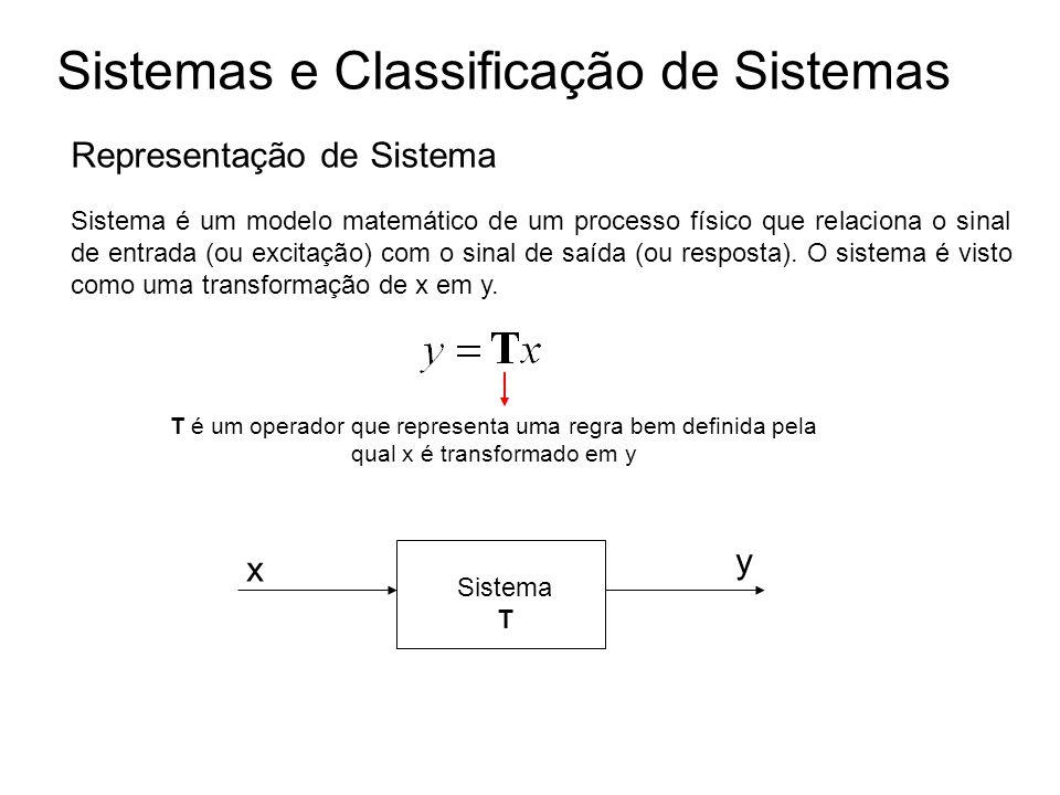 Sistemas e Classificação de Sistemas Representação de Sistema Sistema é um modelo matemático de um processo físico que relaciona o sinal de entrada (o