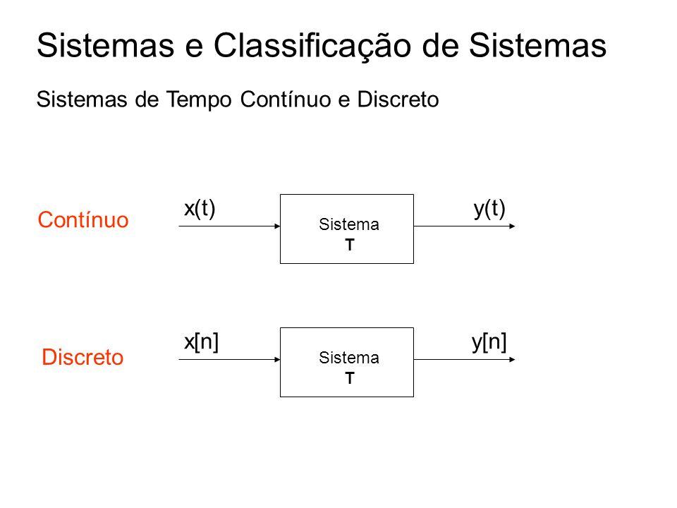 Sistema T x(t)y(t) Sistema T x[n]y[n] Sistemas e Classificação de Sistemas Sistemas de Tempo Contínuo e Discreto Contínuo Discreto