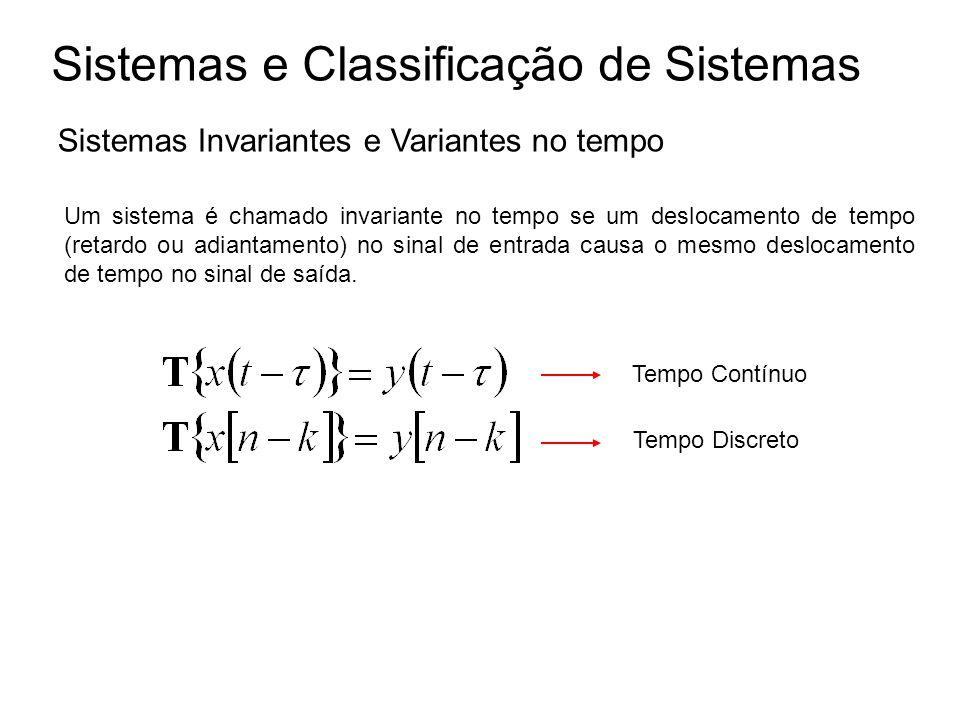 Sistemas e Classificação de Sistemas Sistemas Invariantes e Variantes no tempo Um sistema é chamado invariante no tempo se um deslocamento de tempo (r