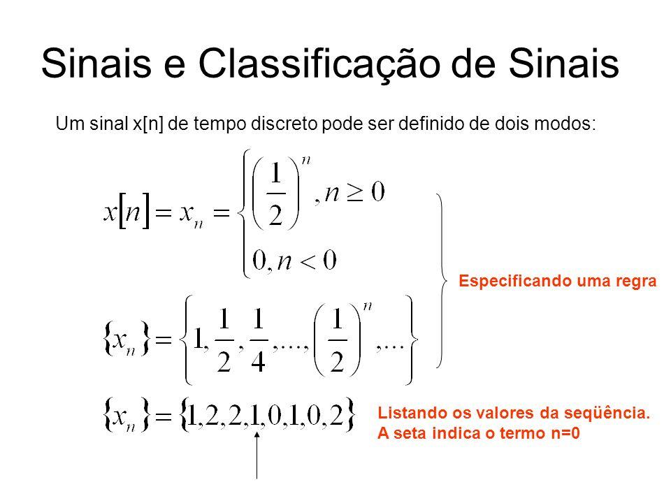 Sinais e Classificação de Sinais Um sinal x[n] de tempo discreto pode ser definido de dois modos: Especificando uma regra Listando os valores da seqüê