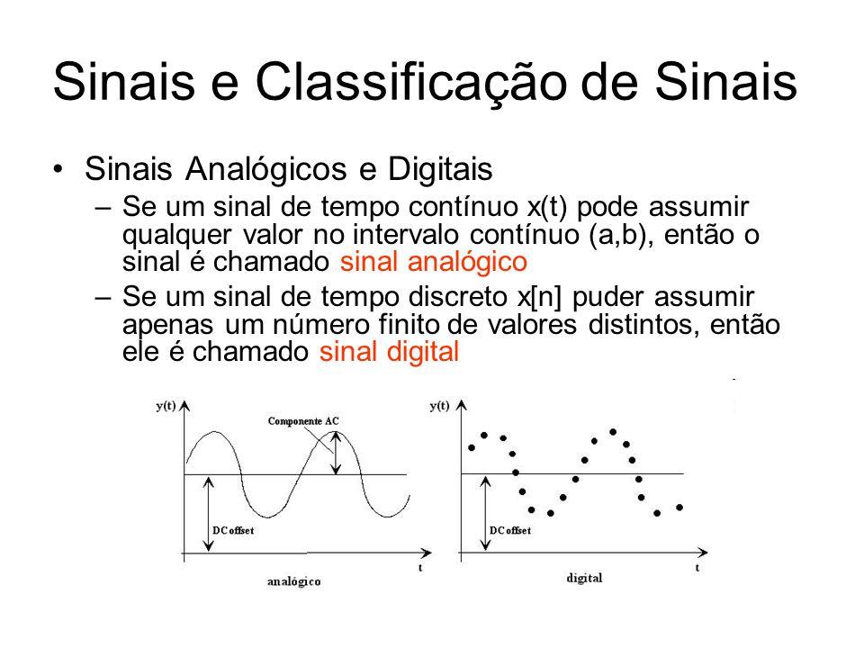 Sinais Analógicos e Digitais –Se um sinal de tempo contínuo x(t) pode assumir qualquer valor no intervalo contínuo (a,b), então o sinal é chamado sina