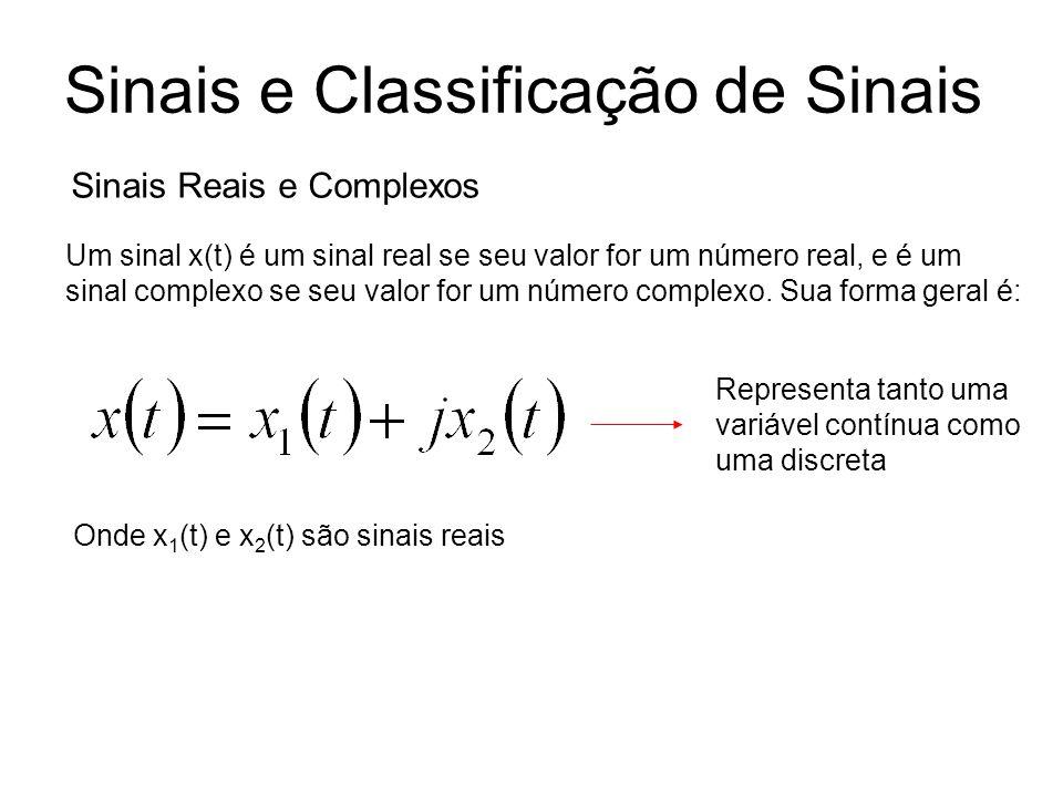 Onde x 1 (t) e x 2 (t) são sinais reais Um sinal x(t) é um sinal real se seu valor for um número real, e é um sinal complexo se seu valor for um númer