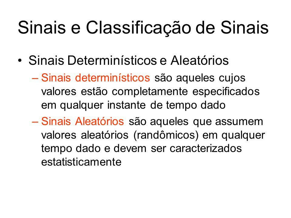 Sinais Determinísticos e Aleatórios –Sinais determinísticos são aqueles cujos valores estão completamente especificados em qualquer instante de tempo