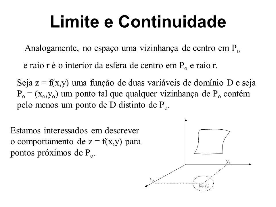 Limite e Continuidade Consideremos a seguinte função O domínio dessa função é o conjunto dos pontos do R 2 tais que 2x y 0, ou seja, é todo o plano menos a reta y = 2x.