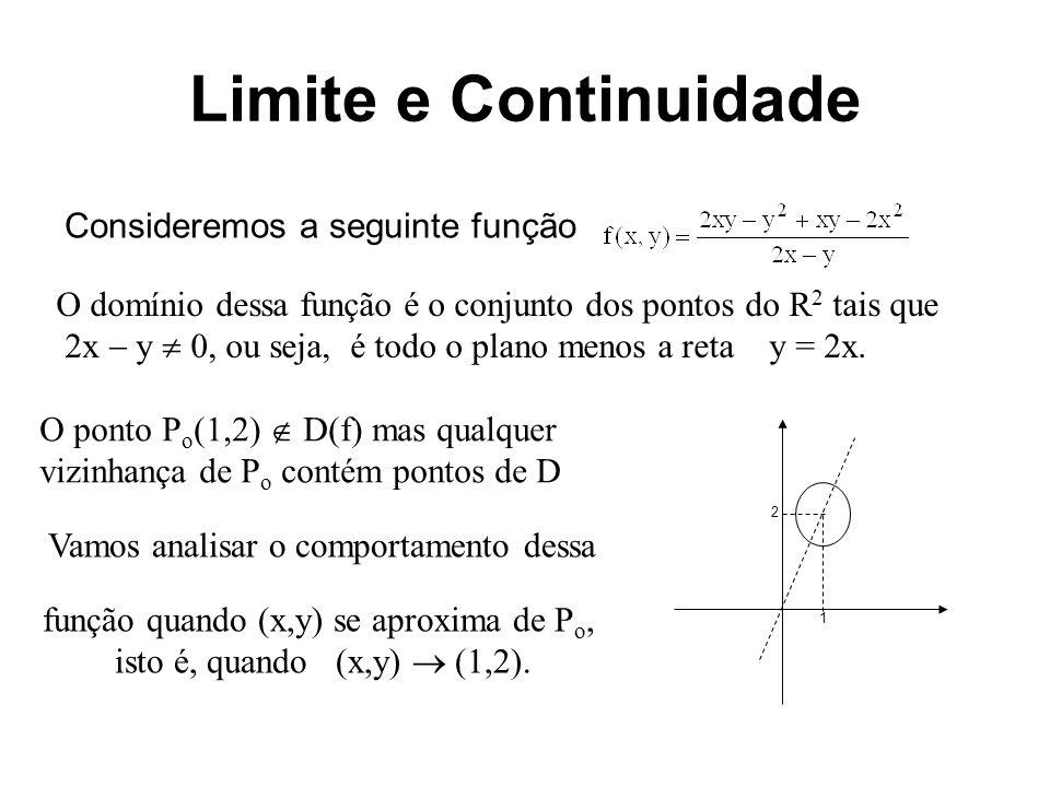 Limite e Continuidade Observemos que, para (x,y) (1,2), podemos reescrever a função como Assim, se (x,y) se aproxima de (1,2) temos que f(x,y) se aproxima de 1.