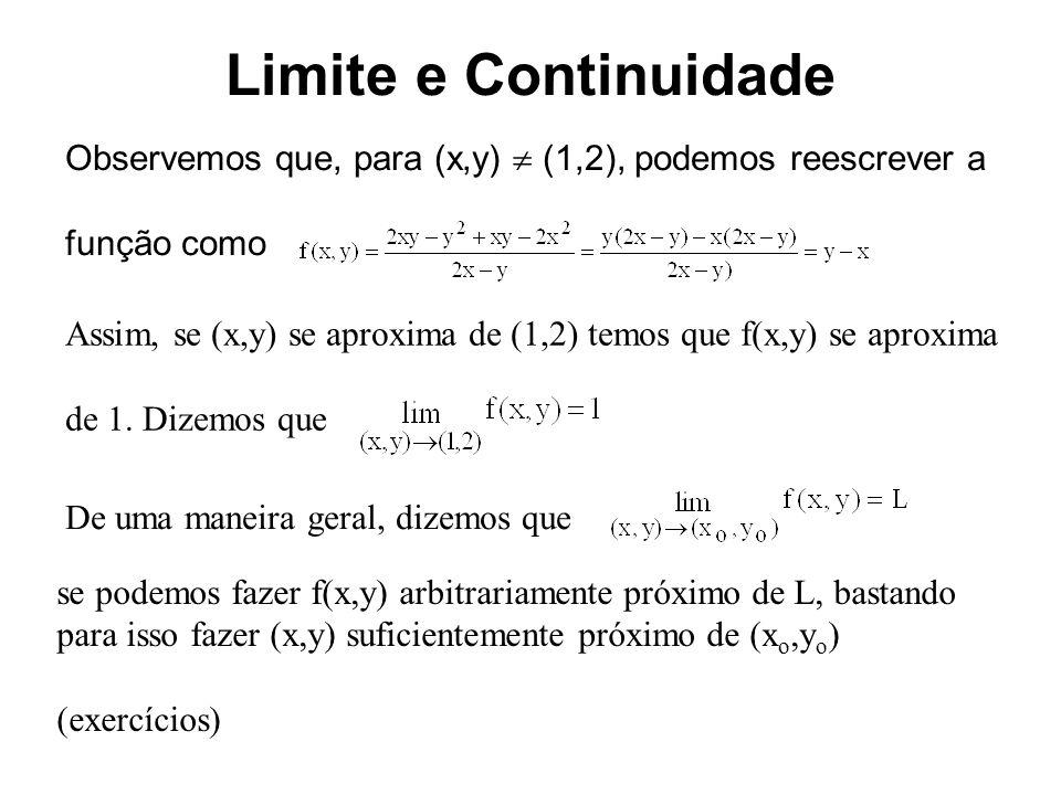 Limite e Continuidade No caso de função de uma variável temos o limite de uma função existe se e somente se os limites laterais são iguais Para o caso de uma função de uma variável cujo domínio está em R, temos que a variável x pode se aproximar de x o por dois caminhos: vindo pela direita ou pela esquerda de x o.