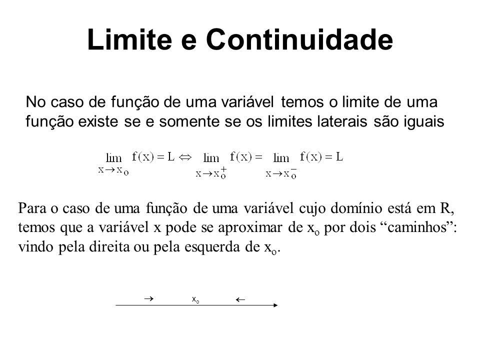 Limite e Continuidade No caso de uma função de duas variáveis z = f(x,y) um ponto P(x,y) pode se aproximar de P o =(x o,y o ) por uma infinidade de caminhos.