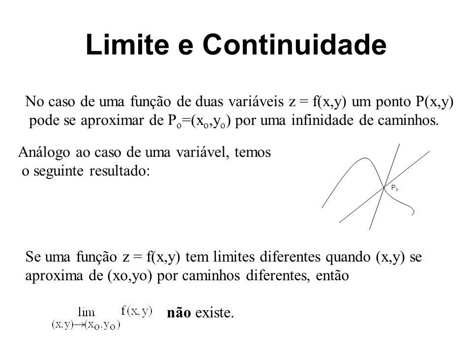 Limite e Continuidade Exemplo: Seja.