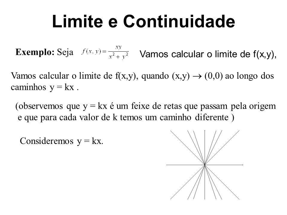 Limite e Continuidade Substituindo na expressão da função temos Assim, Logo, para cada valor de k temos um valor distinto para o limite e portanto o limite não existe Seja z = f(x,y) uma função de duas variáveis e Po(xo,yo) um ponto do domínio de f.