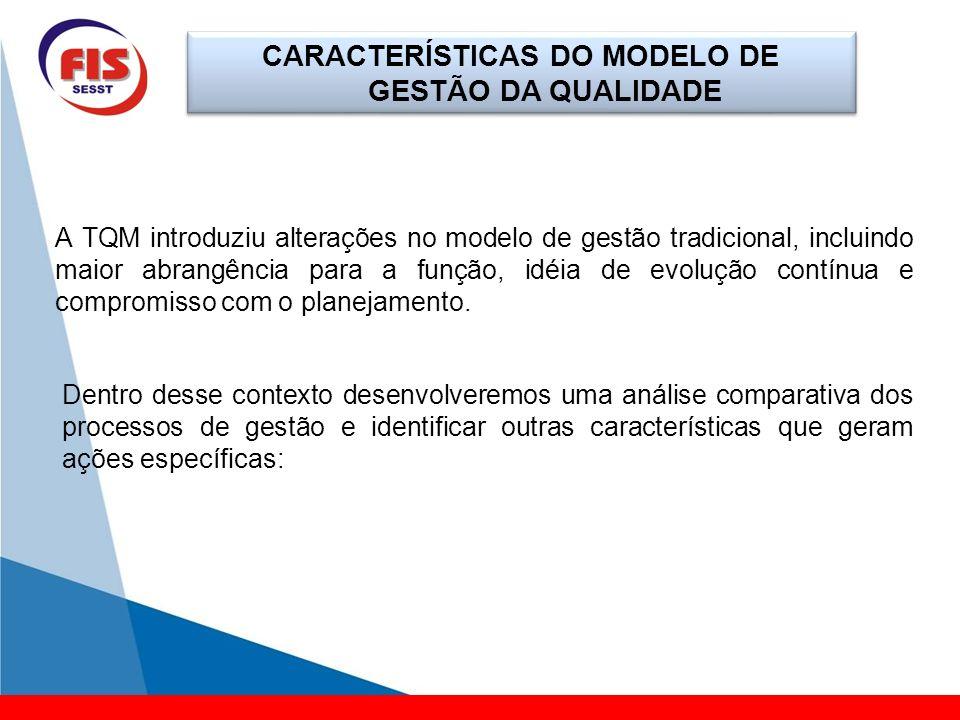 CARACTERÍSTICAS DO MODELO DE GESTÃO DA QUALIDADE A TQM introduziu alterações no modelo de gestão tradicional, incluindo maior abrangência para a funçã