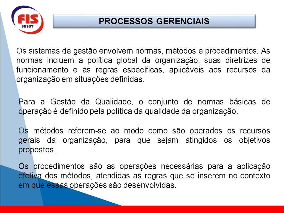PROCESSOS GERENCIAIS Os sistemas de gestão envolvem normas, métodos e procedimentos. As normas incluem a política global da organização, suas diretriz