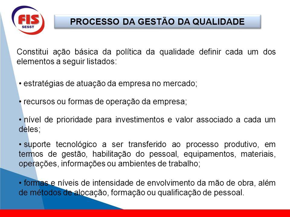 PROCESSO DA GESTÃO DA QUALIDADE Constitui ação básica da política da qualidade definir cada um dos elementos a seguir listados: estratégias de atuação
