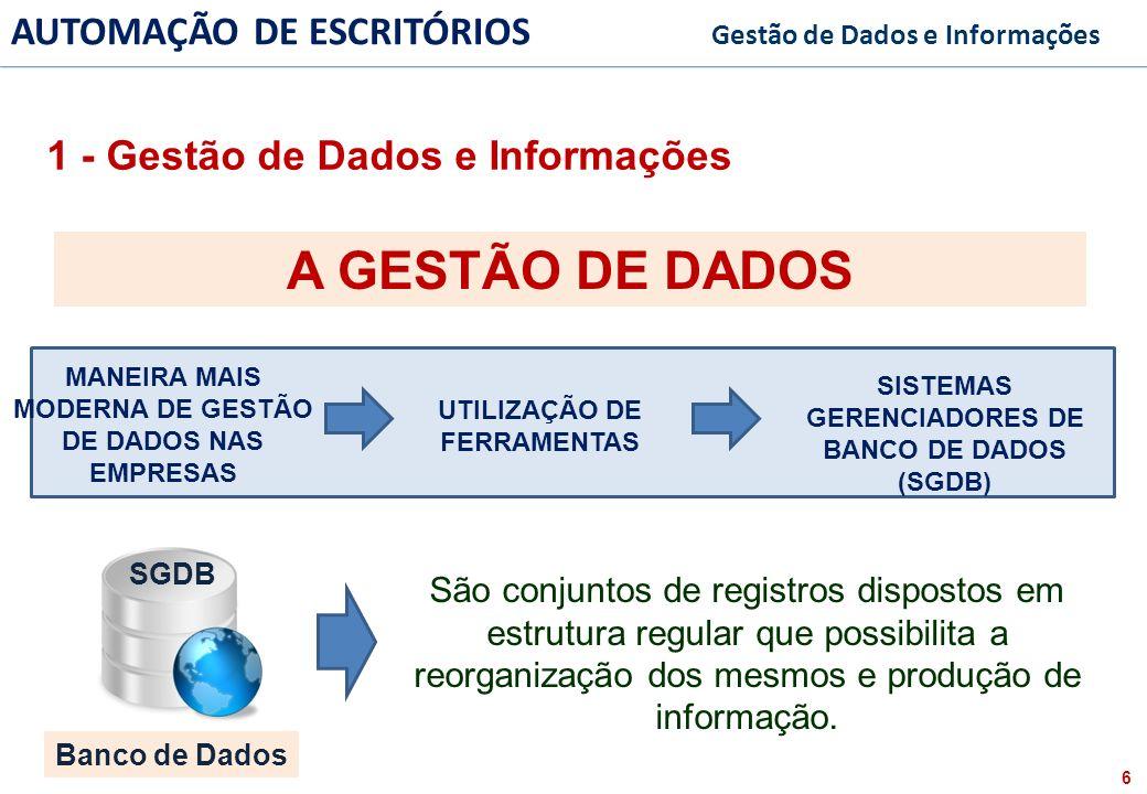7 FACULDADE FABRAI ANHANGUERA – 2009 AUTOMAÇÃO DE ESCRITÓRIOS Gestão de Dados e Informações A GESTÃO DE DADOS SGDB Exemplos Banco de Dados FORMATO DE MÁQUINA LEGÍVEL PARA UM COMPUTADOR 1 - Gestão de Dados e Informações