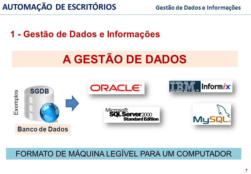 8 FACULDADE FABRAI ANHANGUERA – 2009 AUTOMAÇÃO DE ESCRITÓRIOS Gestão de Dados e Informações Humor Banco de Dados 1 - Gestão de Dados e Informações