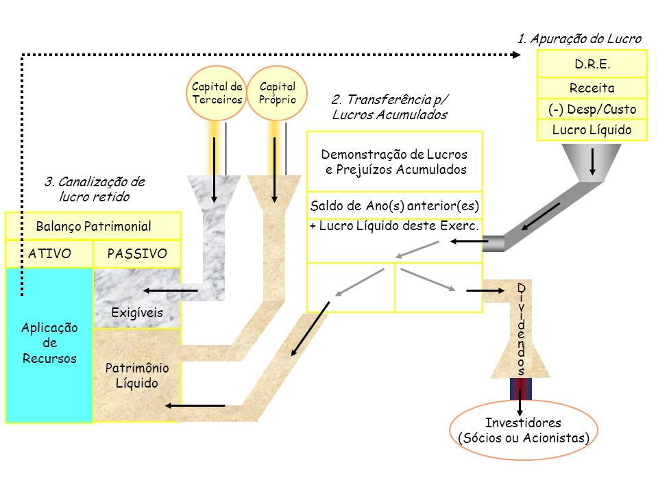 1. Apuração do Lucro Patrimônio Líquido Balanço Patrimonial PASSIVO Aplicação de Recursos Demonstração de Lucros e Prejuízos Acumulados D.R.E. Receita